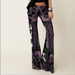 Purple boho bell bottom pants flared festival rave